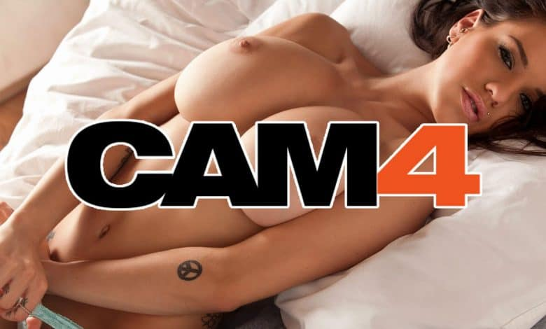 very pretty girl on bed with cam4 logo overlay