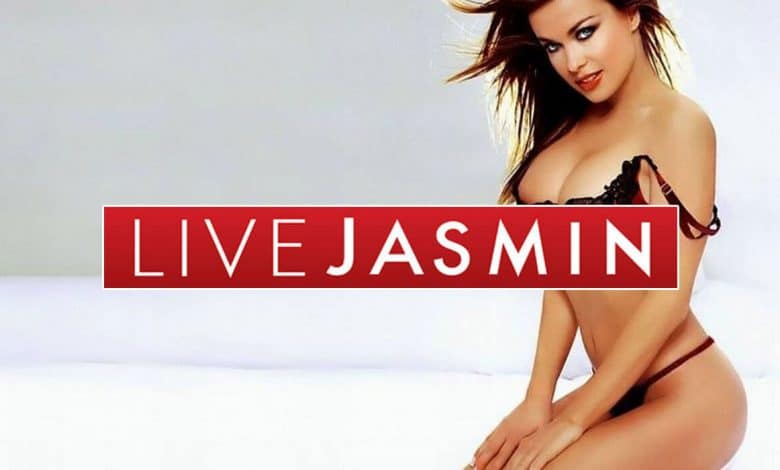 cam model posing with white background and livejasmin logo overlay
