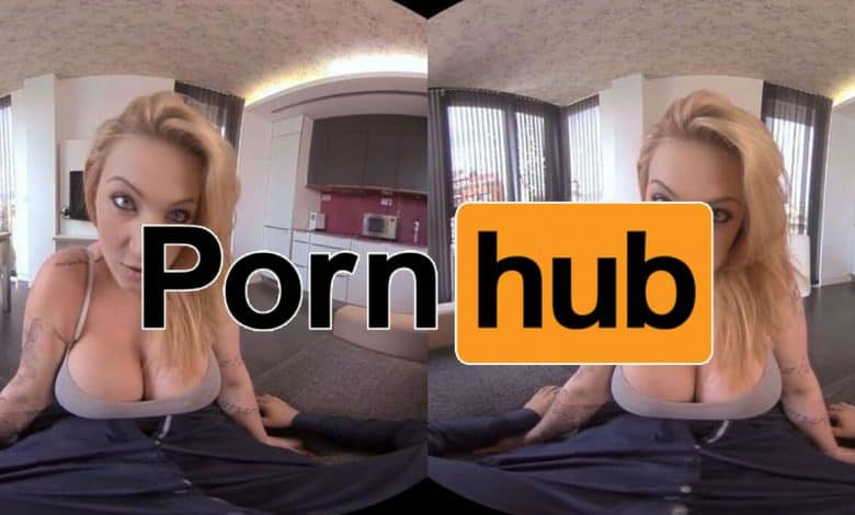 girl topless with pornhub vr logo overlay